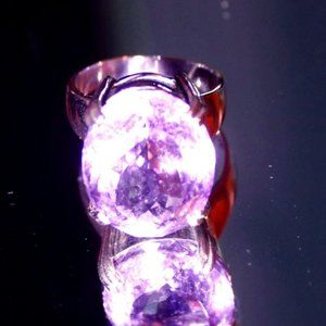 Amethyst 13.12ct Platinum Solid 925 Silver Ring